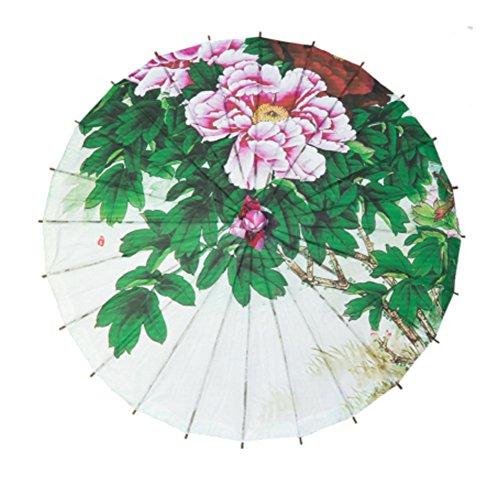 A-goo Chinesische Papier Sonnenschirm Bambus klassische Regenschirm Tanzen Regenschirm - Peony