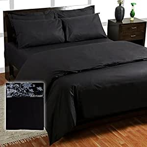 Homescapes 200 Thread Count Ultrasoft - Plain Black Fitted Sheet -King- 100% Egyptian Cotton Percale, Anti Dust Mite
