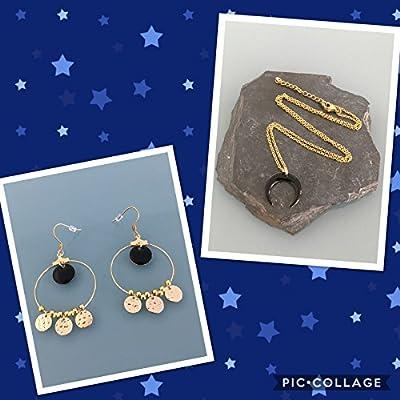 Parure créoles dorées et collier pendentif lune, créoles et collier lune noire, idée cadeau femme, parure bijoux femme, bijoux cadeaux, lune