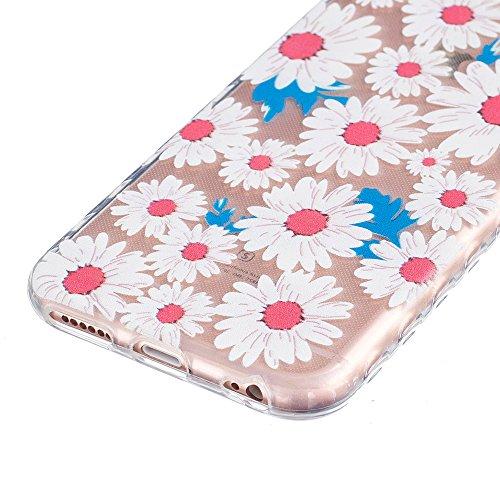 Ooboom® iPhone 8/iPhone 7 Hülle TPU Silikon Gel Handy Tasche Case Cover Flexibel Ultra Dünn für iPhone 8/iPhone 7 - Pinguin Chrysantheme