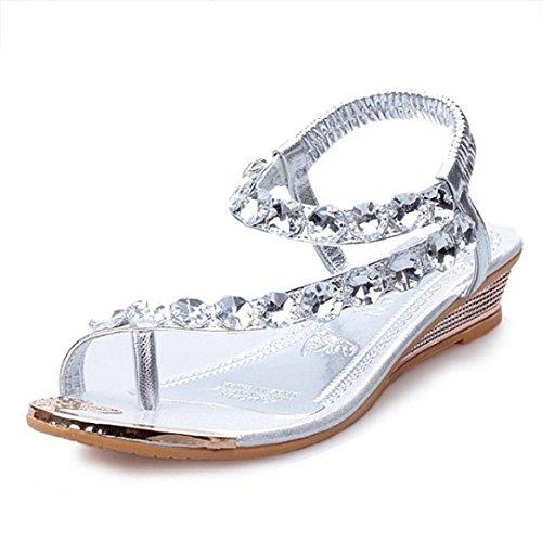 Sandalen Damen,Binggong Frauen Sommer Sandalen Strass Wohnungen Plattform Keile Schuhe Flip Flops Tragen Sie Schuhe Elegant Rutschfeste Schuhe Mode Sandalette Reizvolle (Silber, 36) (- Plattform-schuh)