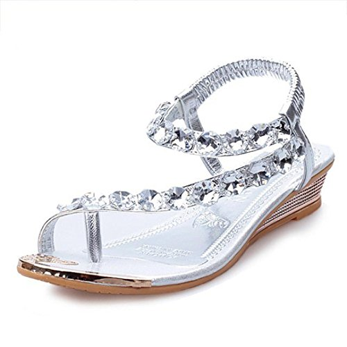Sandalen Damen,Binggong Frauen Sommer Sandalen Strass Wohnungen Plattform Keile Schuhe Flip Flops Tragen Sie Schuhe Elegant Rutschfeste Schuhe Mode Sandalette Reizvolle (Silber, 39) (Flache Satin Schuhe)