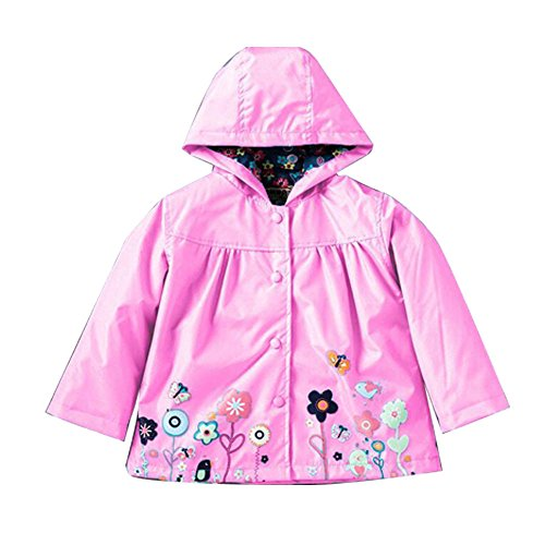 ROT Kids Girls Clothes Jacket Raincoat Waterproof Hooded Coat Outerwea (100cm(Age For 2.5T-3.5T), Pink)