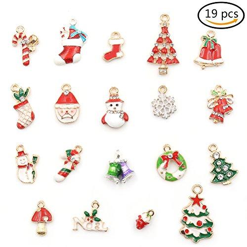 Weihnachten Schmuckanhänger Set Weihnachten Pendant Charms Ohrring Ketten und Armbänder Charms Für Kinder zum Basteln toller Accessoires (19 Stück)