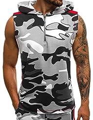 58c61a3b39e HuaMore Sports de Loisirs abordables Camouflage Hommes Gilet Veste  Patchwork Léger sans Manches Sweat à Capuche
