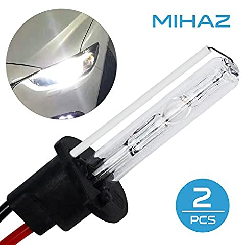 Mihaz Super Bright 12V 35W H1 Xenon HID Light Bulbs 6000K Pack of 2 Headlight Front Fog Light Replacement Bulbs Conversion Kit(2pcs 35W H1