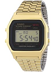 Casio CASIO Collection Men - Reloj digital de caballero de cuarzo con correa de acero inoxidable dorada (alarma, cronómetro, luz)