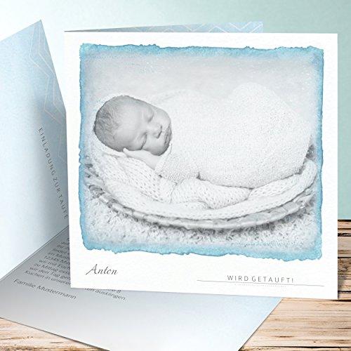 Taufkarte Junge, Baby Aquarell 175 Karten, Quadratische Klappkarte 145x145 inkl. weiße Umschläge, Blau