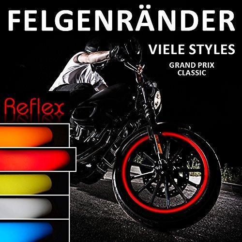 """Felgenrandaufkleber / Rim Stripes Classic-Style 700603 – komplett Set – REFLEX Farben – für 16 Zoll, 17 Zoll und 18 Zoll (9 mm Breite Felgenstreifen) – für 2 Motorrad-/ oder 4 Autofelgen – viele Farben (REFLEX Rot 16"""", 17"""", 18"""")"""