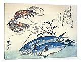 1art1 115175 Utagawa Hiroshige - Makrelen und Garnelen, 1834-35 Poster Leinwandbild Auf Keilrahmen 180 x 120 cm