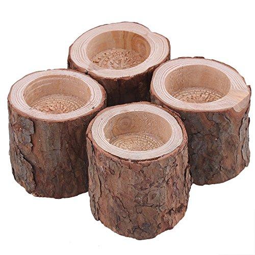 rdexp 6x 6x 6cm Kiefer Natur Holz Ast Kerzenhalter handgefertigt Leuchter für Home Dekoration Set von 4 -
