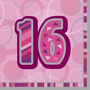 Unique Party Paquete servilletas de Papel de 16 cumpleaños, Color Rosa, Edad (28437)