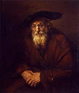 Rembrandt (Portrait d'un vieux Jew, 1654 Box Prints Reproduction (50 x 16,8 en) (50 x 42,6 cm