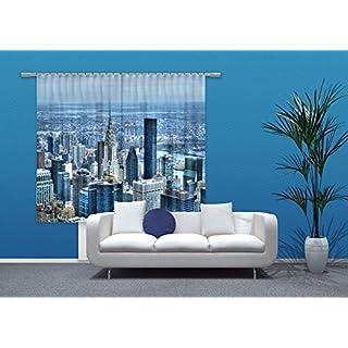 AG Design New York City Gardine/Vorhang, 2 Teile, Stoff, Mehrfarbig, 180 x 160 cm