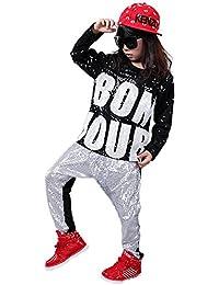 Disfraz de danza con lentejuelas para niñas niños diseño moderno de jazz hip  hop (Plata c527044da05