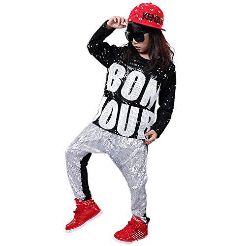 LOLANTA Mädchen Jungen Pailletten Hip Hop Dance Kostüme Ballsaal Modern Jazz Kleidung Top Hose (Ballsaal Kostüm Mädchen)