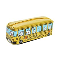 Lymocha 1x Pencil Case Cartoon Bus Durable Pencil Stationery Bag with Zipper Large Capacity Make Up Cosmetic Storage Pouch Purse (Yellow)