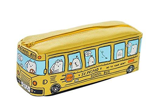 lameida Cartoon Katzen Bus Bleistift Fall groß Kapazität Stationery Leinwand Pen Tasche für Schule Kids Mädchen Jungen 19 X 6.5 X 6CM gelb (Fall Groß)