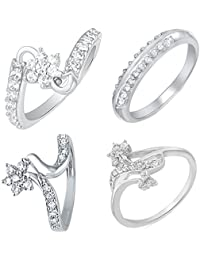 Mahi Rhodium Plated Combo Of Four Finger Rings With CZ For Women CO1104614R
