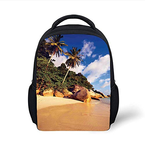 Kids School Backpack Palm Tree Decor,Tropical Beach Serenity in Nature Exotic Fruit Coconut Rock Seascape Print,Green Brown Plain Bookbag Travel Daypack