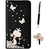 GrandEver Coque Cuir 3D Faux Diamant pour Samsung Galaxy A5 2016 A510F Etui Rhinestone Flip Case Brillant Glitter Housse Papillon Chat Noir Motif Wallet Bookstyle Case Cas Portable Holster Back Cover Souple Fonction Stand Magnetique Dustproof Protective Shell Fente de Carte Anti-Rayures AntiPoussiere + {Stylet d'Ecran Tactile} +{ Bouchon Anti-Poussière}