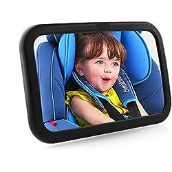 MVPower Rétroviseur Bébé Miroir de Voiture pour Bébé Retroviseur de Surveillance Baby View Mirror Noir Rétroviseur Sécurité pour Siège Arrière