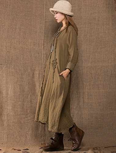 MatchLife Damen Vintage Embroidery Langarm Kleider Art2-Khaki