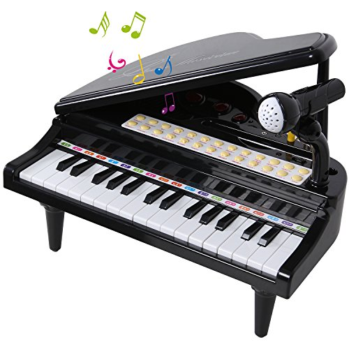 SGILE 31 Keys Piano Toys - Electronic Keyboard Musical Toy Set with Microphone Light and Song, Learn-to-Play for Kids Toddlers Singing Music Development, Audio link with Mobile MP3 IPad PC, Black