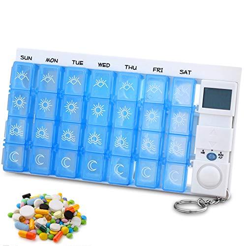 NOBGP Tragbare Smart Medicine Box 28 Cell LCD Intelligent Pill Dispenser Travel Medication Dispenser für Vitamine wöchentlichen Pille Organizer mit 7 Tag Reminder Timer - Pille-dispenser-timer