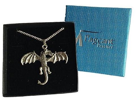 Collier DRAGON poli en étain avec boîte cadeau-Fabriqué en Angleterre