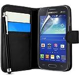 Supergets Gravur Hülle für Samsung Galaxy Ace 3 GT-S7270 - Schlichte Einfarbige Geldbörse in Lederoptik Buchstil Schale Brieftasche Case mit Karteneinschub, Schutzfolie, Eingabestift