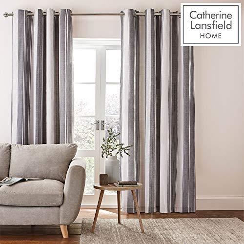 Catherine Lansfield Herringbone Stripe Vorhang mit Ösen, 167,6x 137,2cm, Polyester-, grau, 137x 168x 0,4cm -