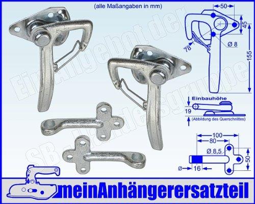 Winkelhebelverschluss Bordwandverschluss Set Gr. 1 mit Einfallöse Gegenhalter