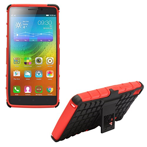 DMG Sturdy Dual Layer Kick Stand Hard Back Case for Lenovo K3 Note (Red)