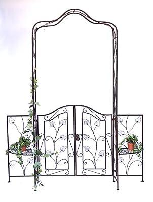 DanDiBo Rosenbogen mit Tor Pforte 101759 aus Metall Gartentor 236x186 cm Rankgerüst von DanDiBo Ambiente auf Du und dein Garten