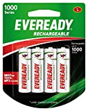 #10: Eveready Rechargeable AA Battery, 04 Pieces Pack, White (1000 Series, BP4 700 NIMH)