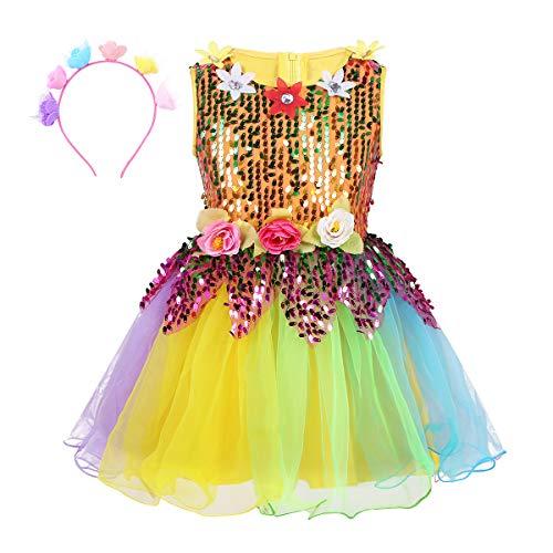 YOOJIA Kinder Mädchen Pailletten Regenbogen Blume Tüll Kleid mit Haarband für Modern Jazz Latin Dance Stage Performance Kostüm Kleidung 98-164 Bunt 98-104/3-4 ()