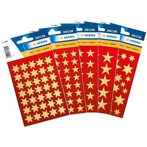 Herma 15500 - Pegatinas decorativas (423 unidades), diseño de estrellas, color dorado