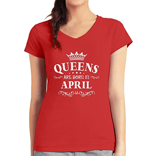 Geschenk - Queens are born in April Damen T-Shirt V-Ausschnitt Rot