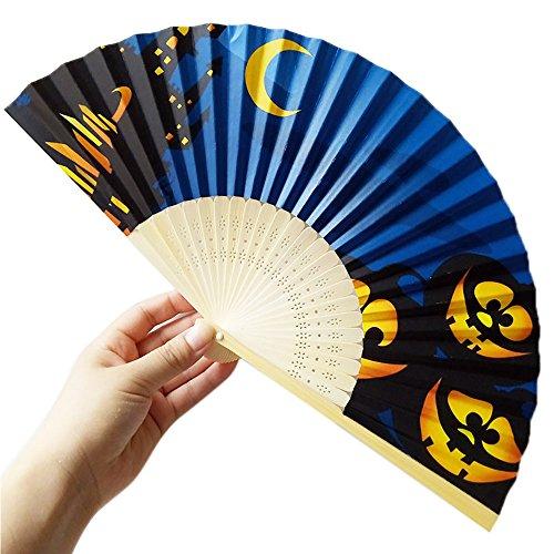 her Halloween Bambus Fächer Chinesisches Abend Party Karneval Hand Fächer Papierfächer Hochzeit Braut Faltbare Fan Tanzen Zubehör Klapp Festival Geschenk Cosplay Wohnzimmer Deko ()