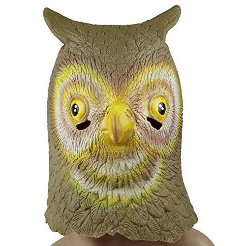 QJXSAN Halloween Requisiten Tier Show Dekoration Tier Kopfbedeckungen grün Latex Maske Eule Maske