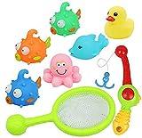 yoptote Pesca Bagno Giocattolo Animali Marini da Pescare Galleggiante con Giochi Rete e Canna da Pesca 8 Pezzi Set per i Bambini 3 4 5 6 Anni