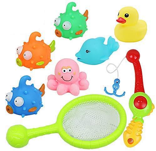 yoptote Badewannenspielzeug Wasserspiel Entchen Angeln Schwimmenden Fisch Badespaß ab 3 4 5 Jahre für Badewanne Dusche Pool