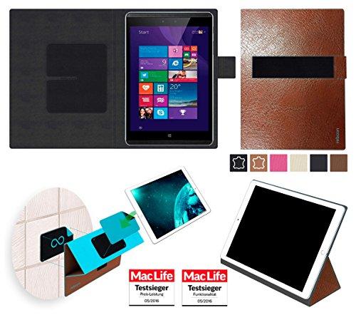 reboon Hülle für Hewlett Packard Pro Tablet 608 Tasche Cover Case Bumper   in Braun Leder   Testsieger
