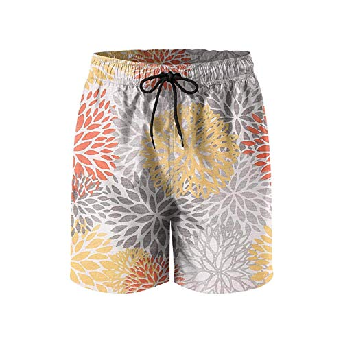ARTOPB Floral Colorful Dahlia Mens Swim Trunks Quick Dry Board Shorts Swimwear for Men with Pockets,L
