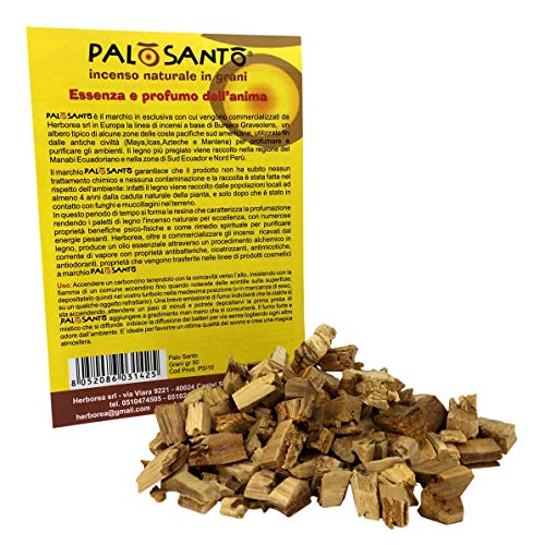 Palo Santo en Granos - Variedad Amarillo - 50 Gr - Incienso Natural chamánico Original para Quemar - Rituales, purificación, Aroma de Buen Humor, energía Positiva