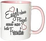 Mister Merchandise Kaffeebecher Tasse Engel ohne Flügel nennt man beste Freundin BFF Freund Mädchen Freundschaft Friends Teetasse Becher Weiß-Rosa