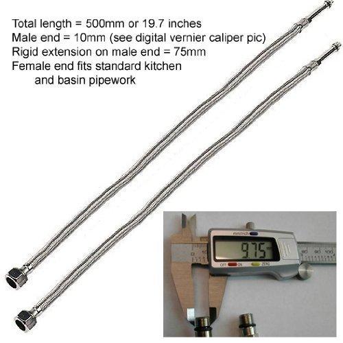 GrandTapz FT001 Lot de 2 flexibles avec raccord mâle 10 mm pour mitigeur de lavabo ou d'évier Longueur 500 mm