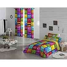 NATURALS Juego De Funda Nórdica Hello Multicolor Cama 105 (180 x 220 cm + 45 x 120 cm)