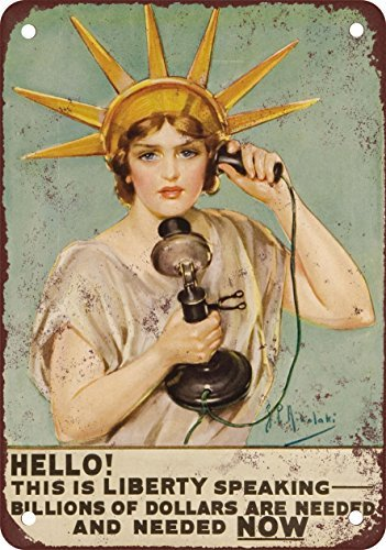 lady-liberty-pleads-for-war-money-vintage-look-reproduction-metal-tin-sign-203x-305cm